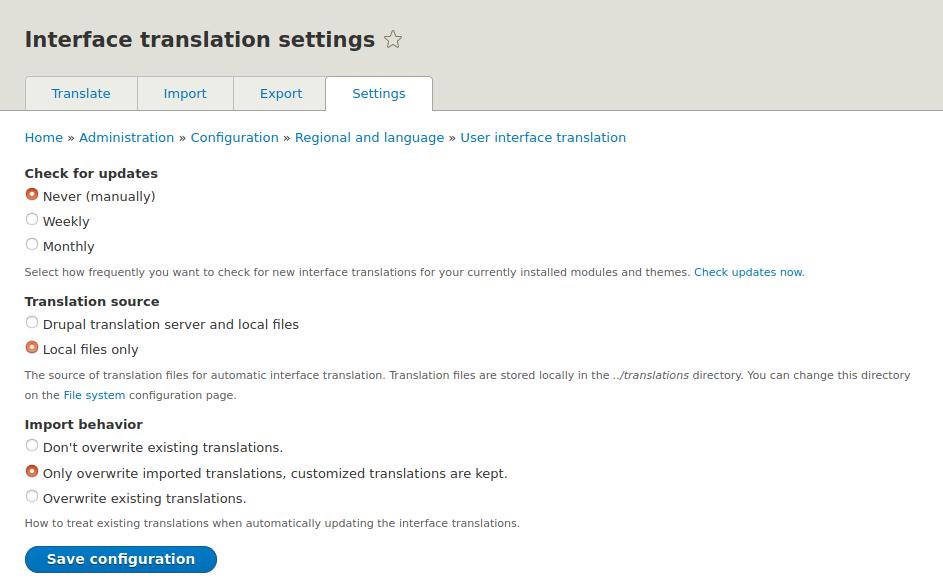 Admin settings for translations